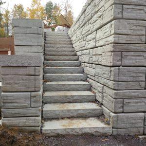 retaining wall with precast concrete steps
